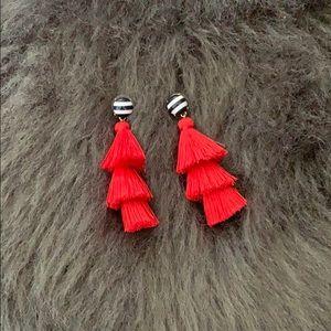 J Crew Red Tassel Earrings NWOT